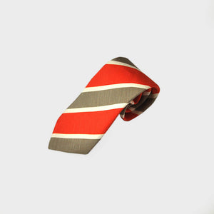 Bold Summer Stripes Silk & Linen Tie in Red & Grey