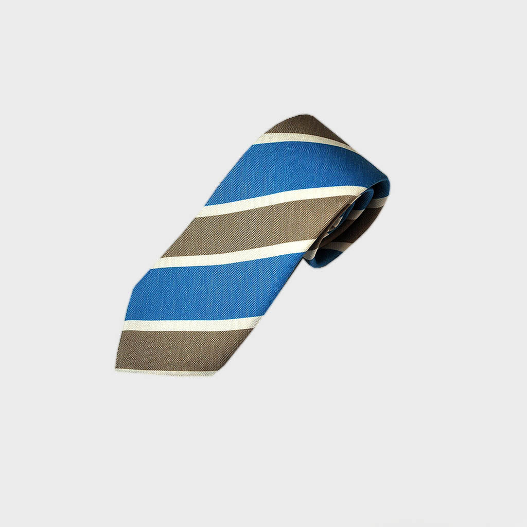 Bold Summer Stripes Silk & Linen Tie in Blue & Grey