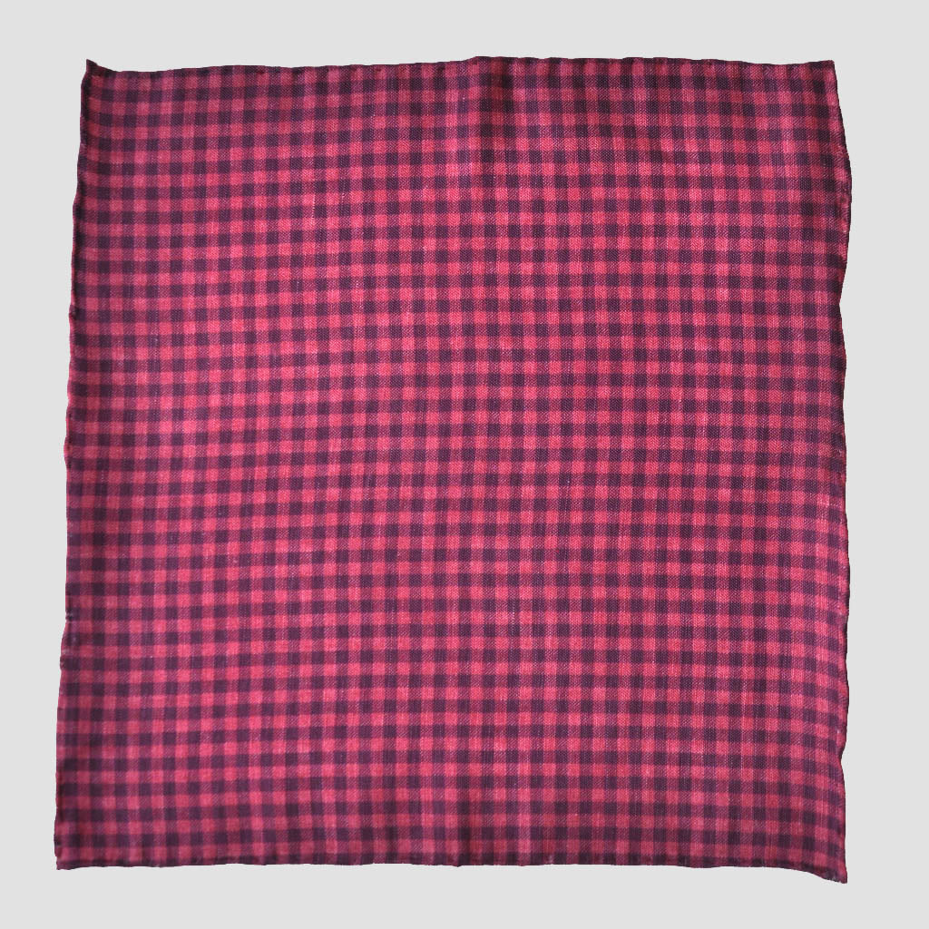 English Silk Plaid Pocket Square in Red