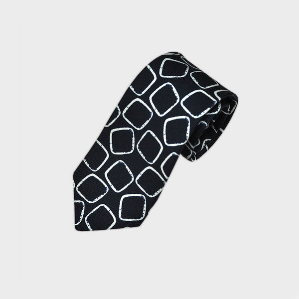 Navy with White Paved Square Silk Tie