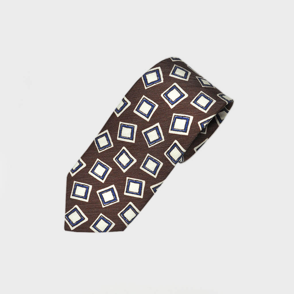 Groovy Squares Silk Linen Tie in Brown