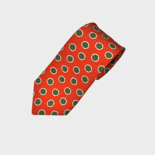 Groovy Dot Silk Linen Tie in Orange & Olive