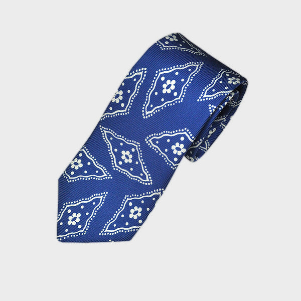 Funky Floret Silk Tie in Royal Blue