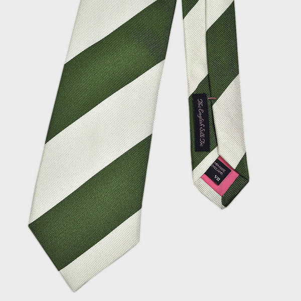 Bold Stripe Reppe Silk Tie in Forest Green & White