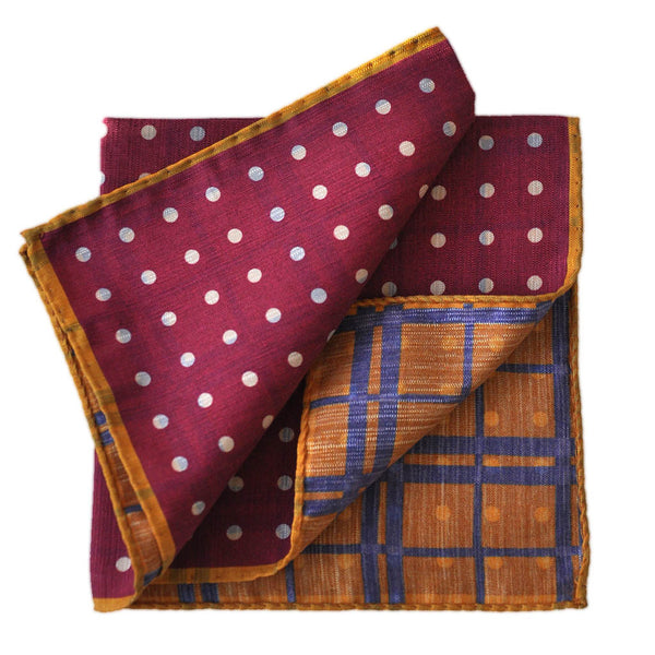 Dots and Checks Silk Pocket Square