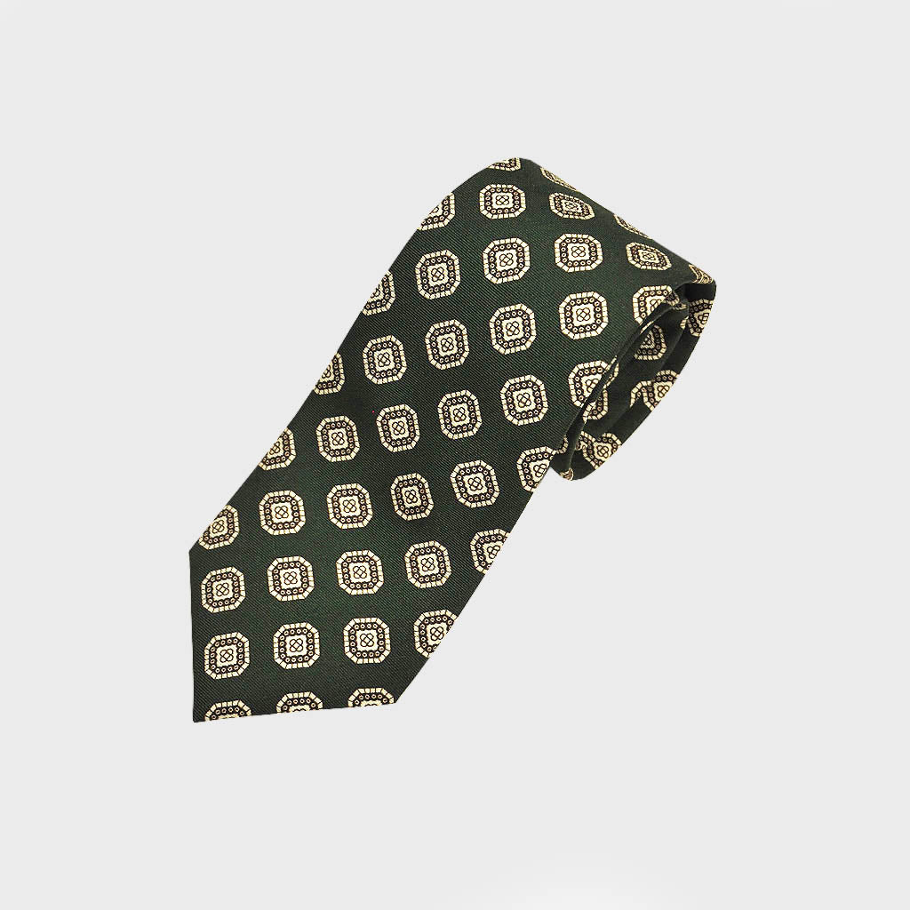 Neat Repeat Medallion Silk Tie in Green