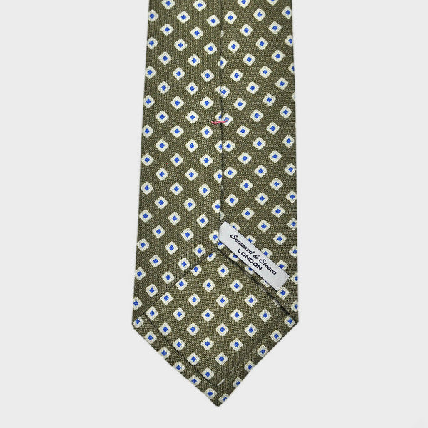 Groovy Little Squares Silk Linen Tie in Olive