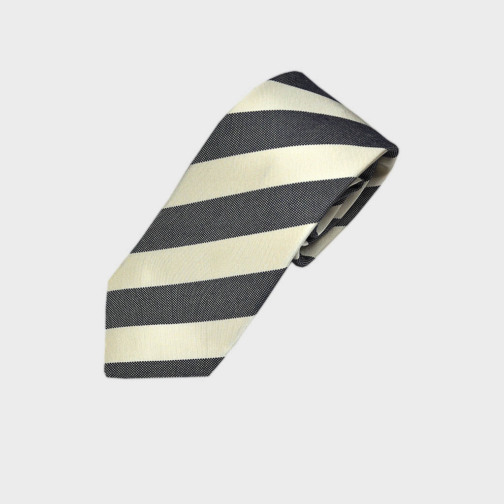 Denim Blue Natte and White Reppe Stripe Silk Tie