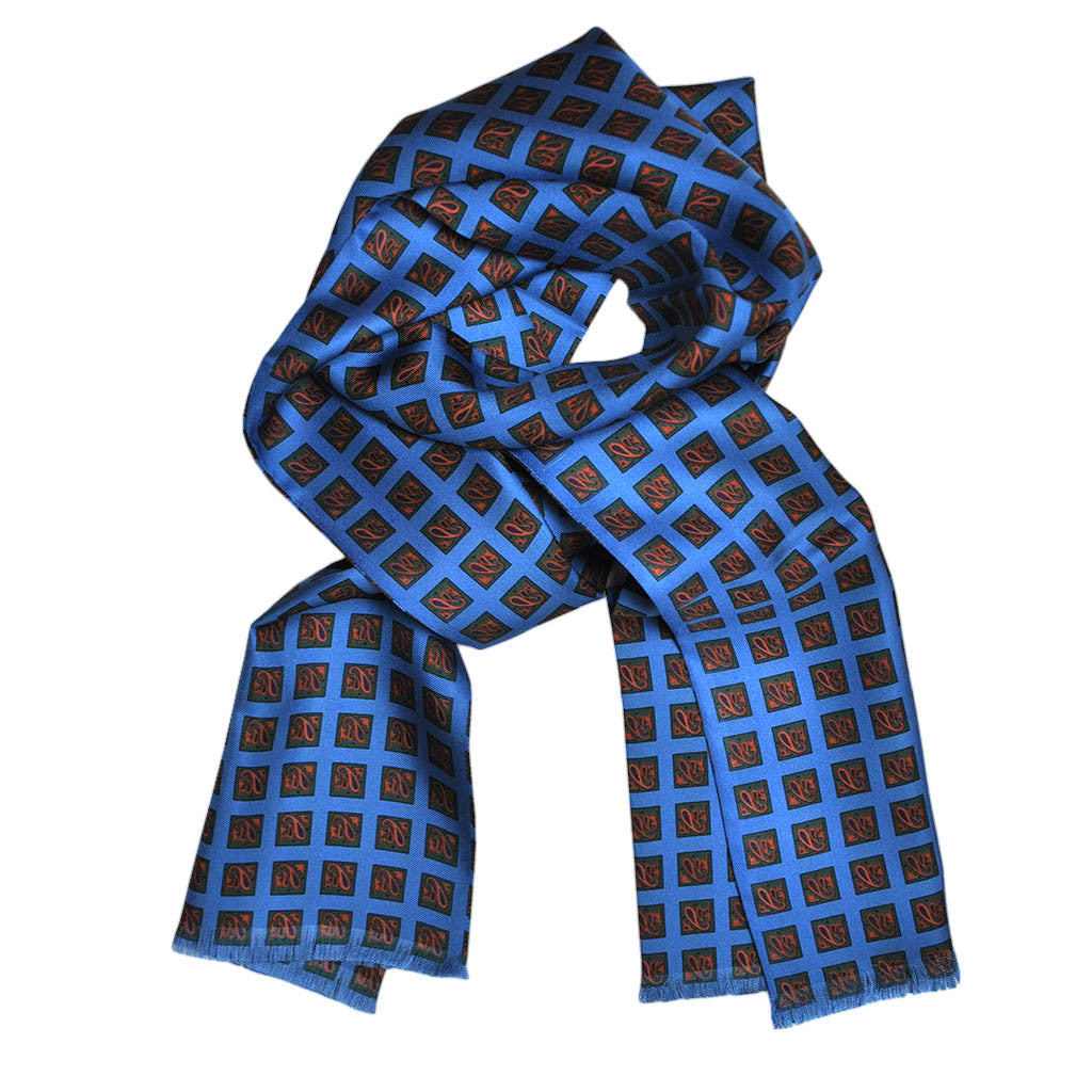 English Silk Geometric Pattern Scarf