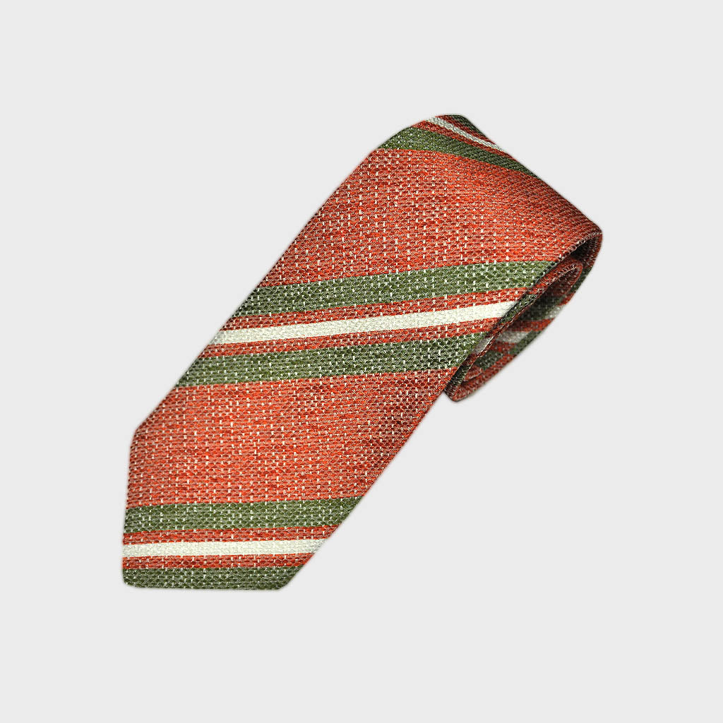 Burnt Orange & Olive Stripes Tussah Silk Tie