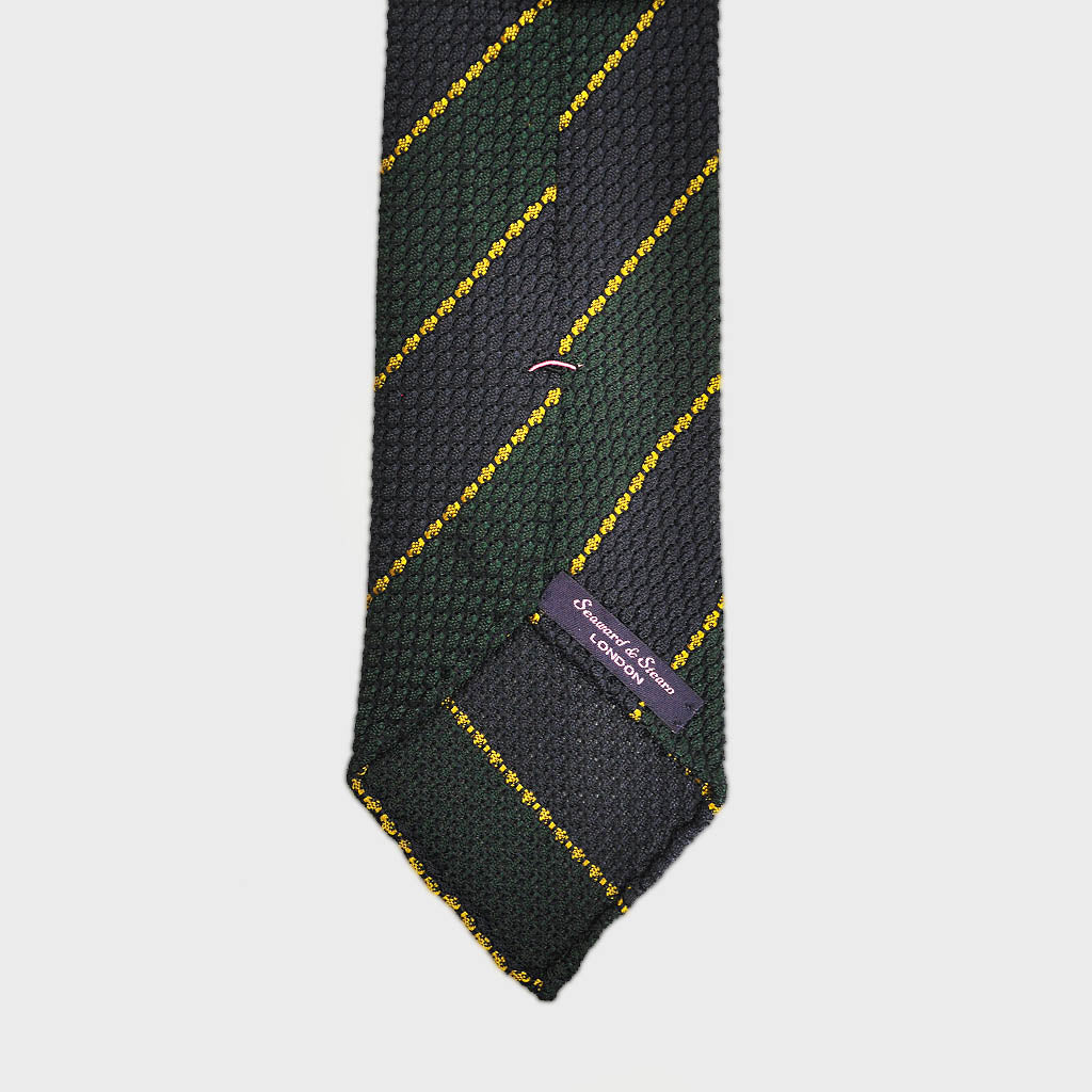 Regimental Stripe Hand-rolled Grenadine Tie in Purple & Green