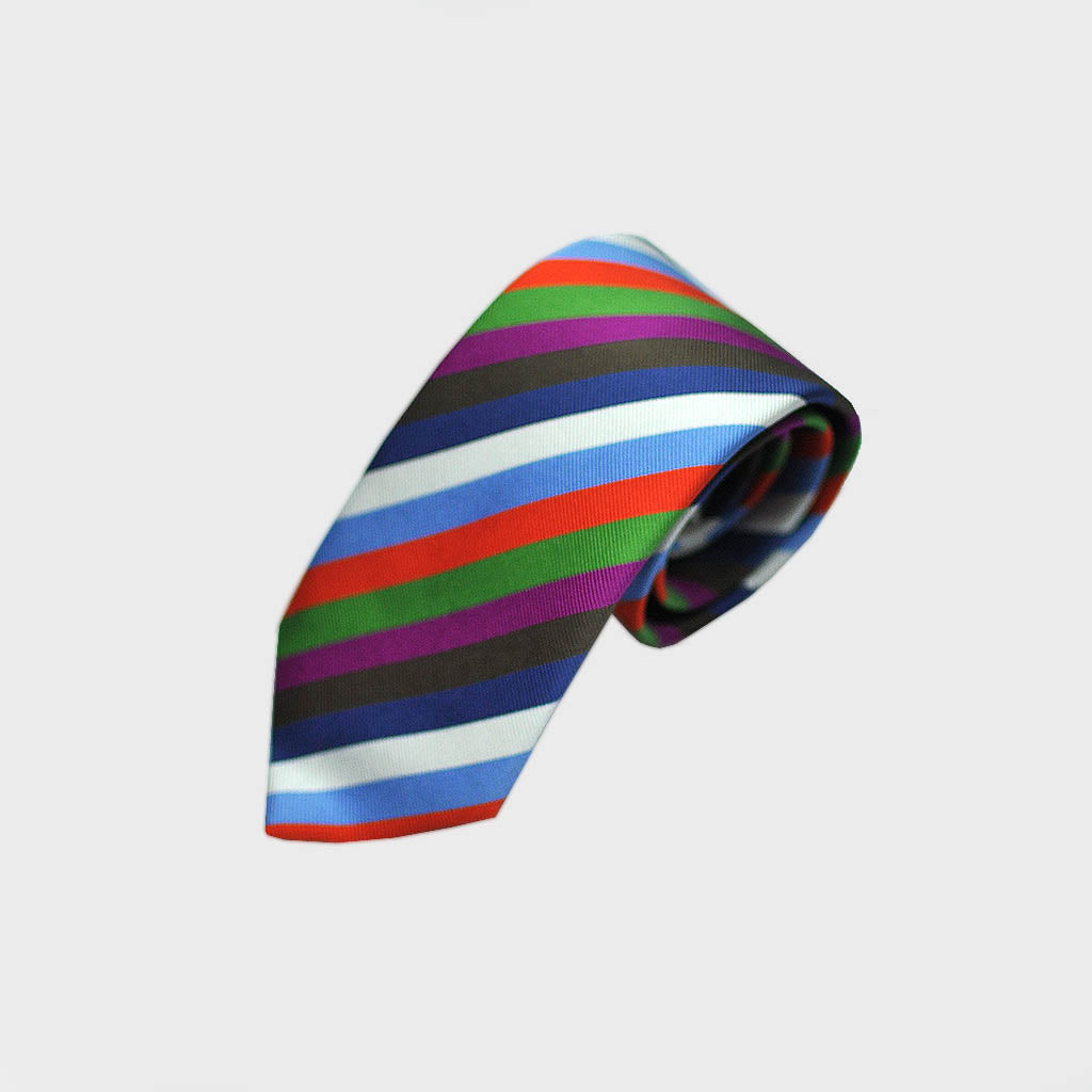 Lots of Stripes Bottle Neck Silk Tie in Blue, Red, Green, White