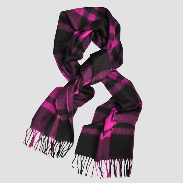 Wool Plaid Winter Scarf in Pink