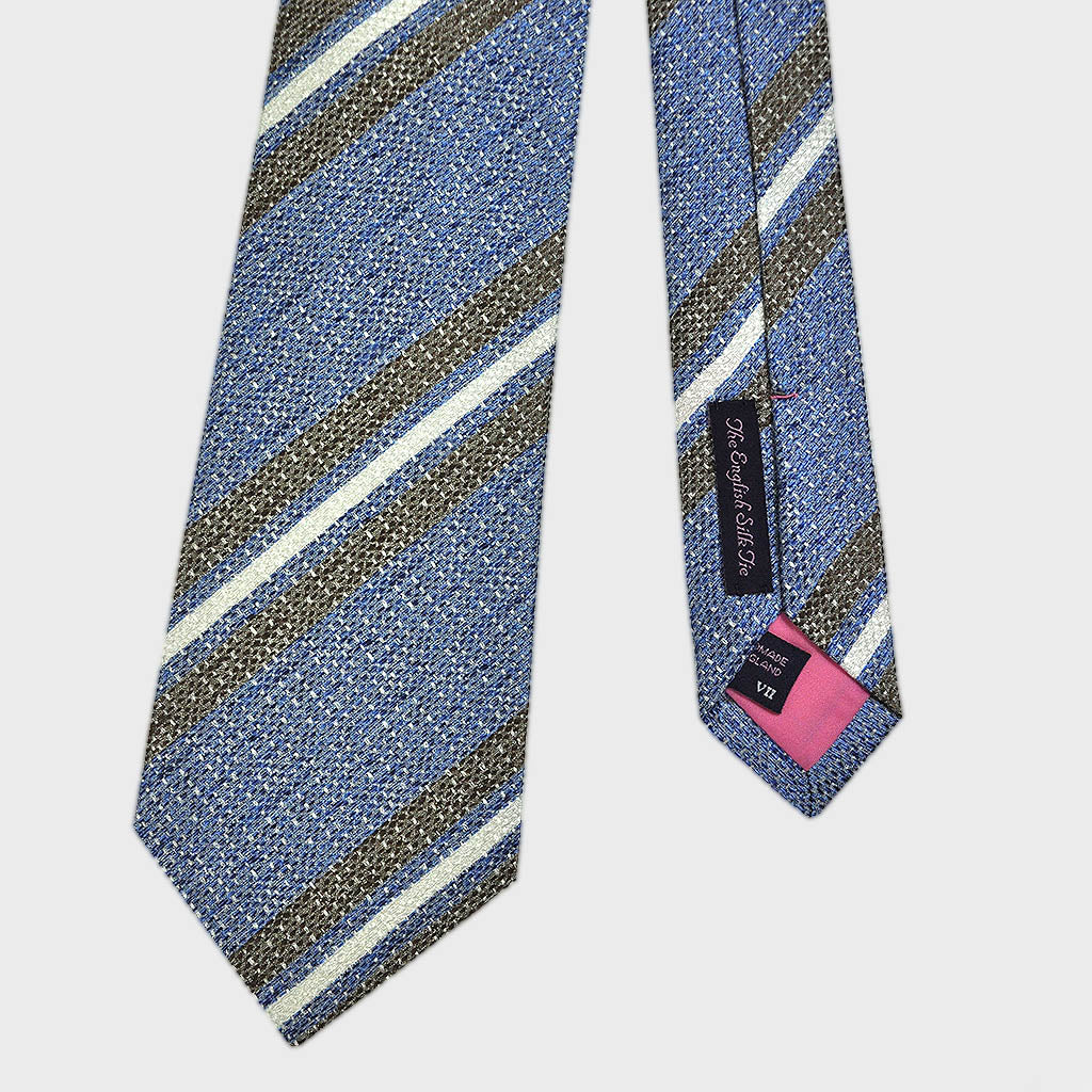 Ultramarine Blue & Coffee Brown Stripe Tussah Silk Tie
