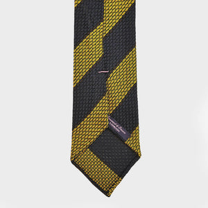 Block Stripe Hand-rolled Grenadine Tie in Burgundy & Gold
