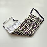 Puppy Tooth with Purple Geometric Woven Silk Face Cover