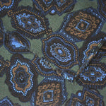 Wool Silk Funky Medallion Scarf in Green, Browns & Blues