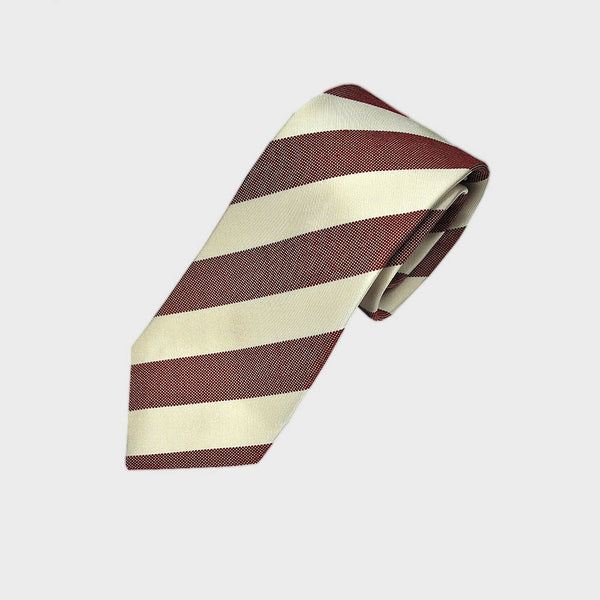 Cherry Red Natte and White Reppe Stripe Silk Tie