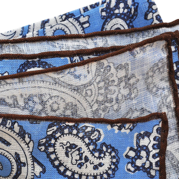 Bold Paisley Linen Pocket Square