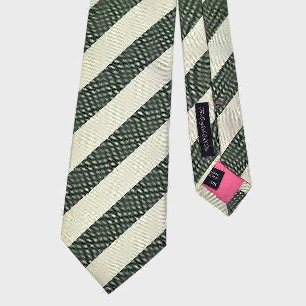 Forest Green Natte and White Reppe Stripe Silk Tie