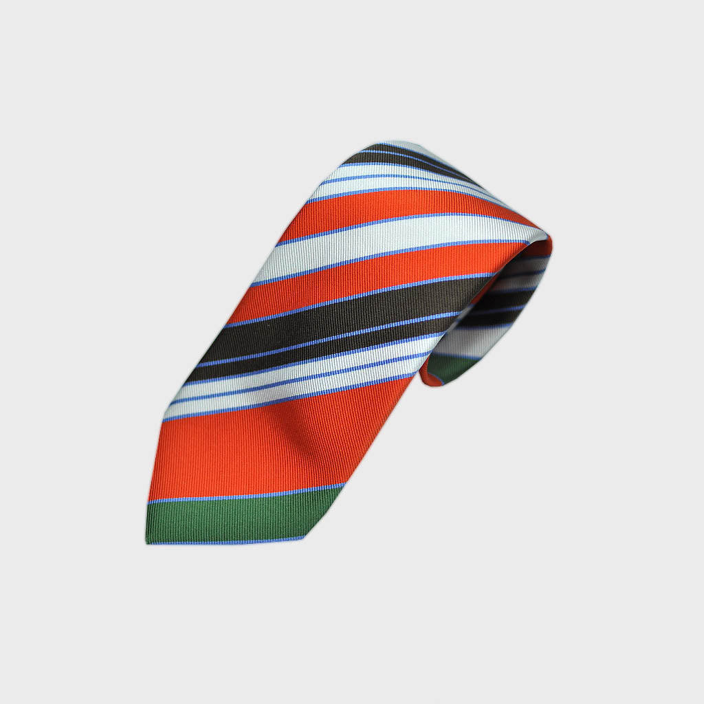 Blocks and Pins and Colour Striped Bottle Neck Silk Tie in Orange, Green, Brown, White