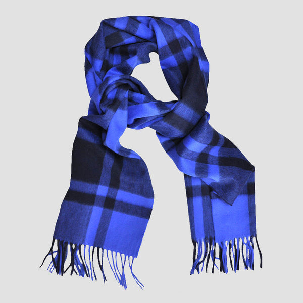 Wool Plaid Winter Scarf in Blue