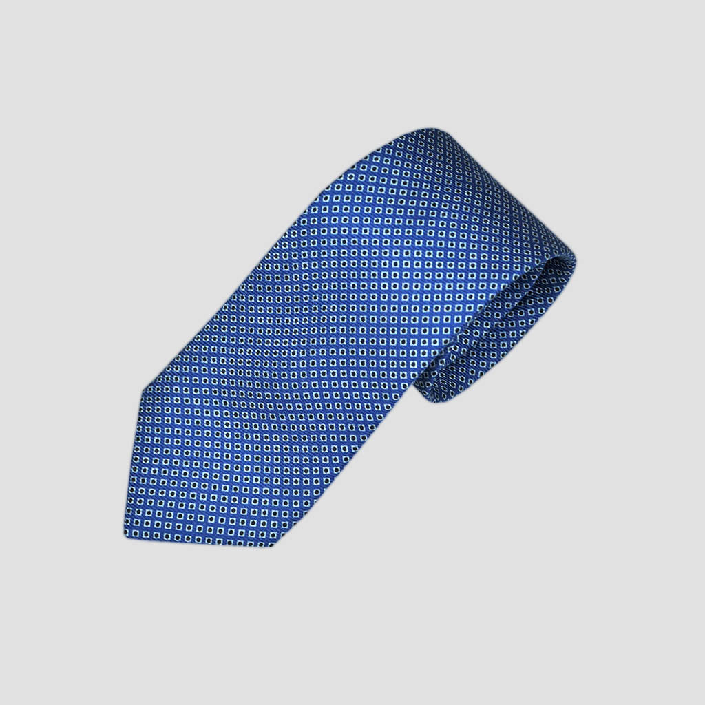 Dotty Neat Repeat Silk Tie in Royal Blue