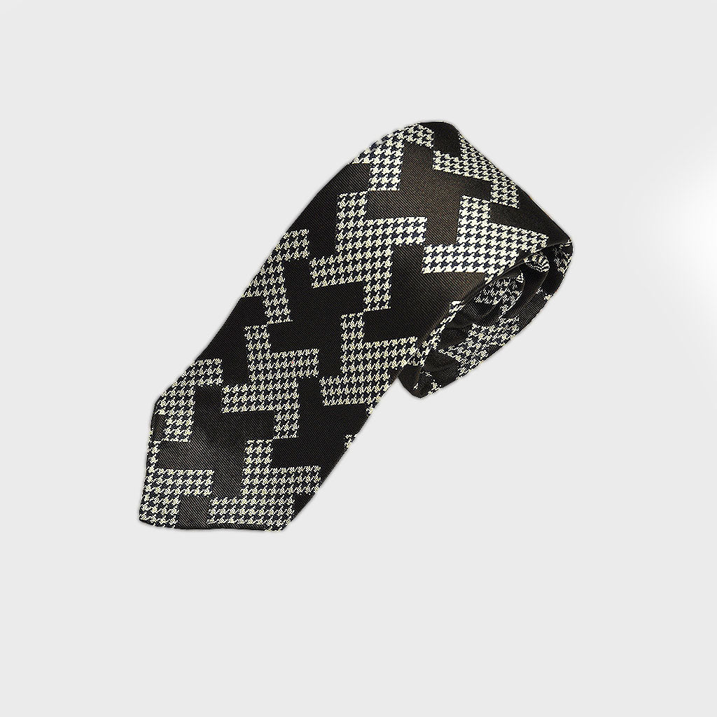 Puppy Tooth & Geo Hand rolled Woven Silk Tie in Brown
