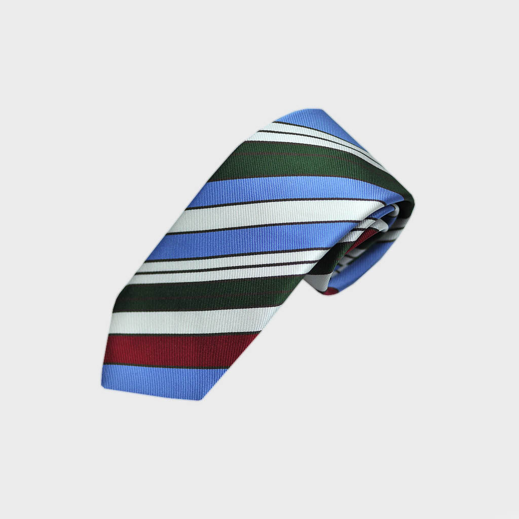 Blocks and Pins and Colour Striped Bottle Neck Silk Tie in Blue, Green, Red, White