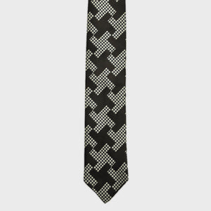 Puppy Tooth & Geo Hand Rolled Woven Silk Bottle Neck Tie in Brown