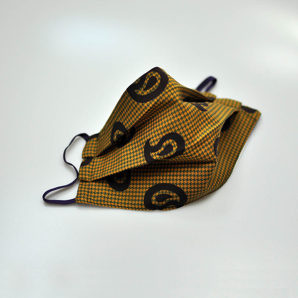 Pups Tooth and Teardrop Silk Face Cover in Ochre