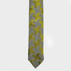 Puppy Tooth & Geo Hand rolled Woven Silk Tie in Olive & Lime