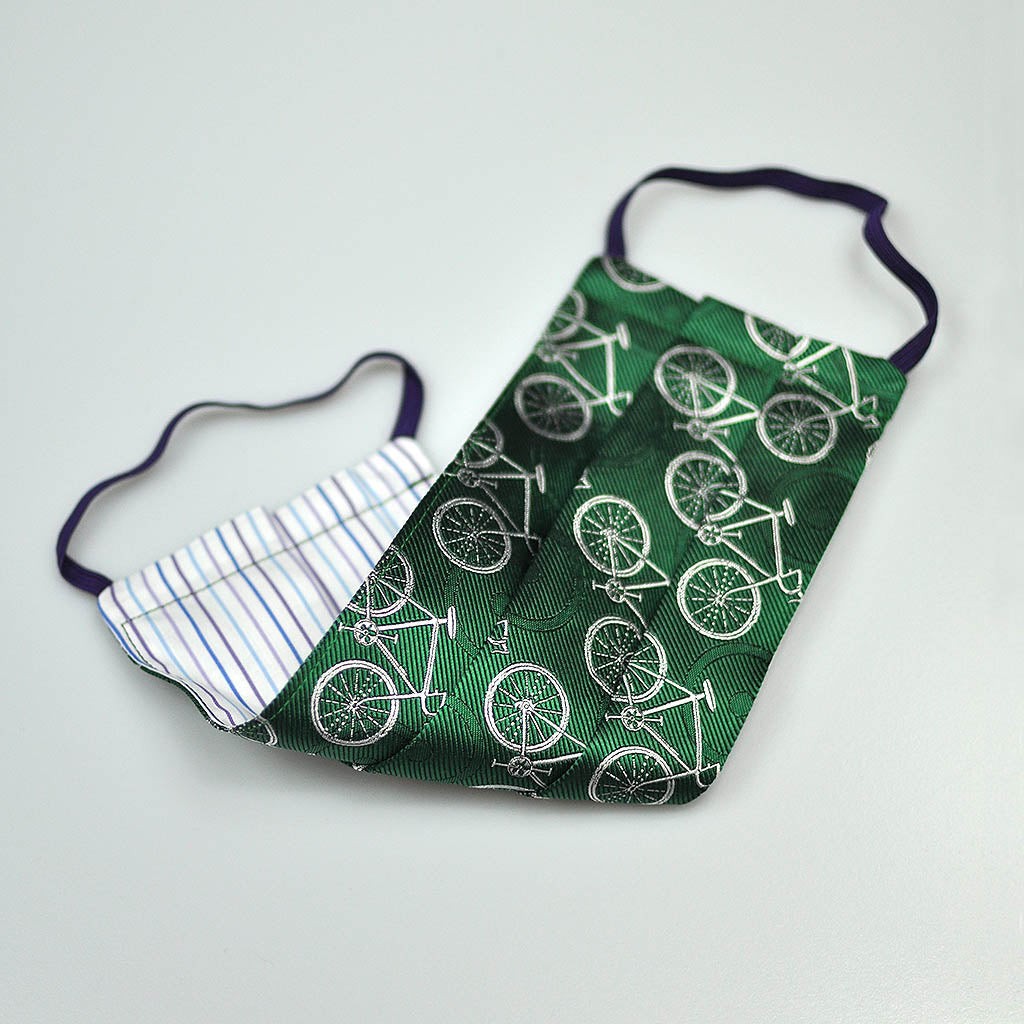 Bicycle Woven Silk Face Cover in Green