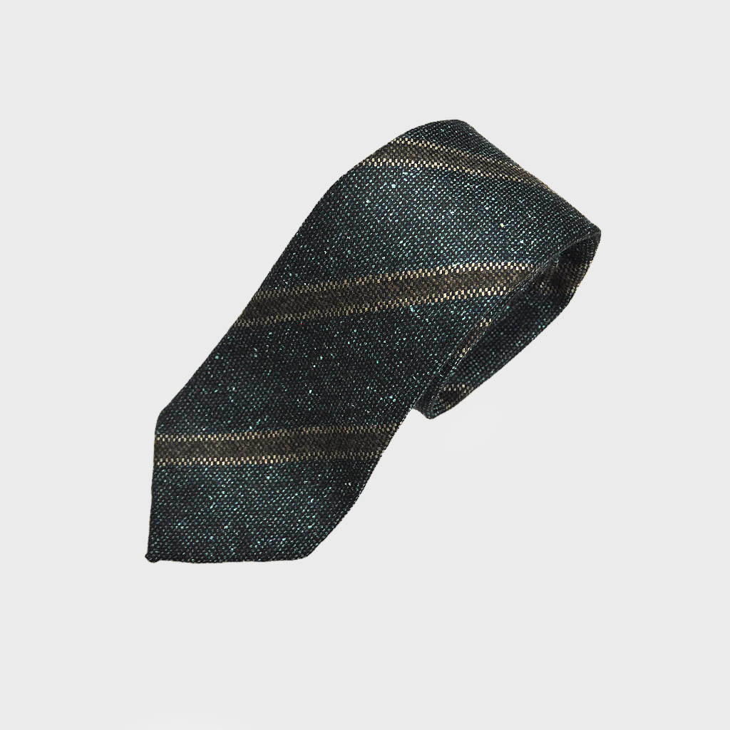 Regimental Stripe Hand-rolled Wool Tie in Dark Teal