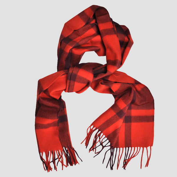 Wool Plaid Winter Scarf in Red