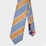 Block Stripes & Pins Bottle Neck Tussah Silk Tie in Gold, Navy & White