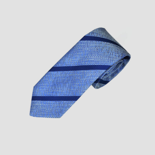English Tussah Silk with Woven Stripe Tie