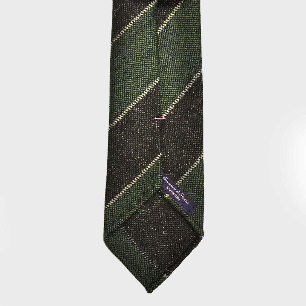 Club Stripe Hand-rolled Wool Tie in Muted Green, Grey & Brown