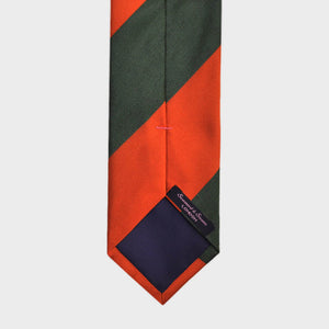 Bold Block Stripes Woven Silk Bottle Neck Tie in Red & Green