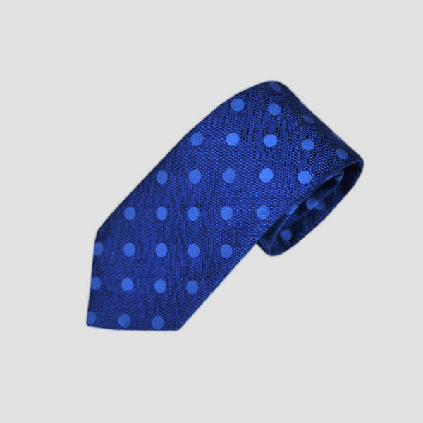 English Tussah Silk with Woven Dots Tie