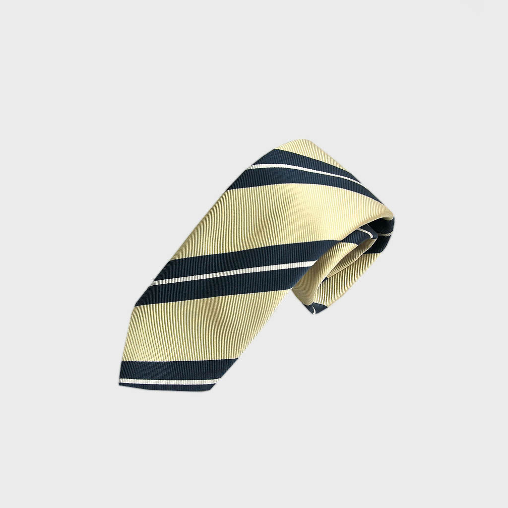 Blocks & Stripes Woven Silk Bottle Neck Tie in White & Blue