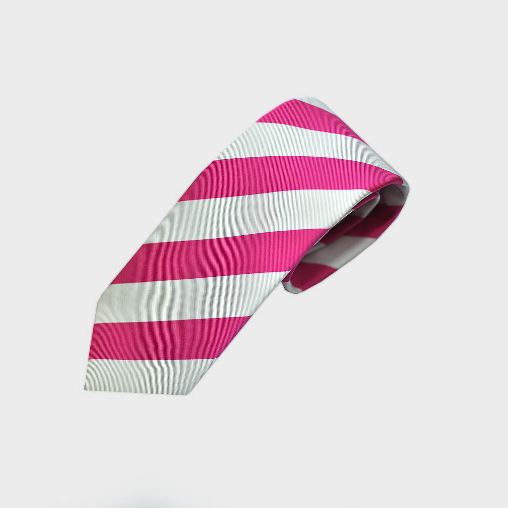 Classic Bold Stripes Bottle Neck Silk Tie in Pink & White