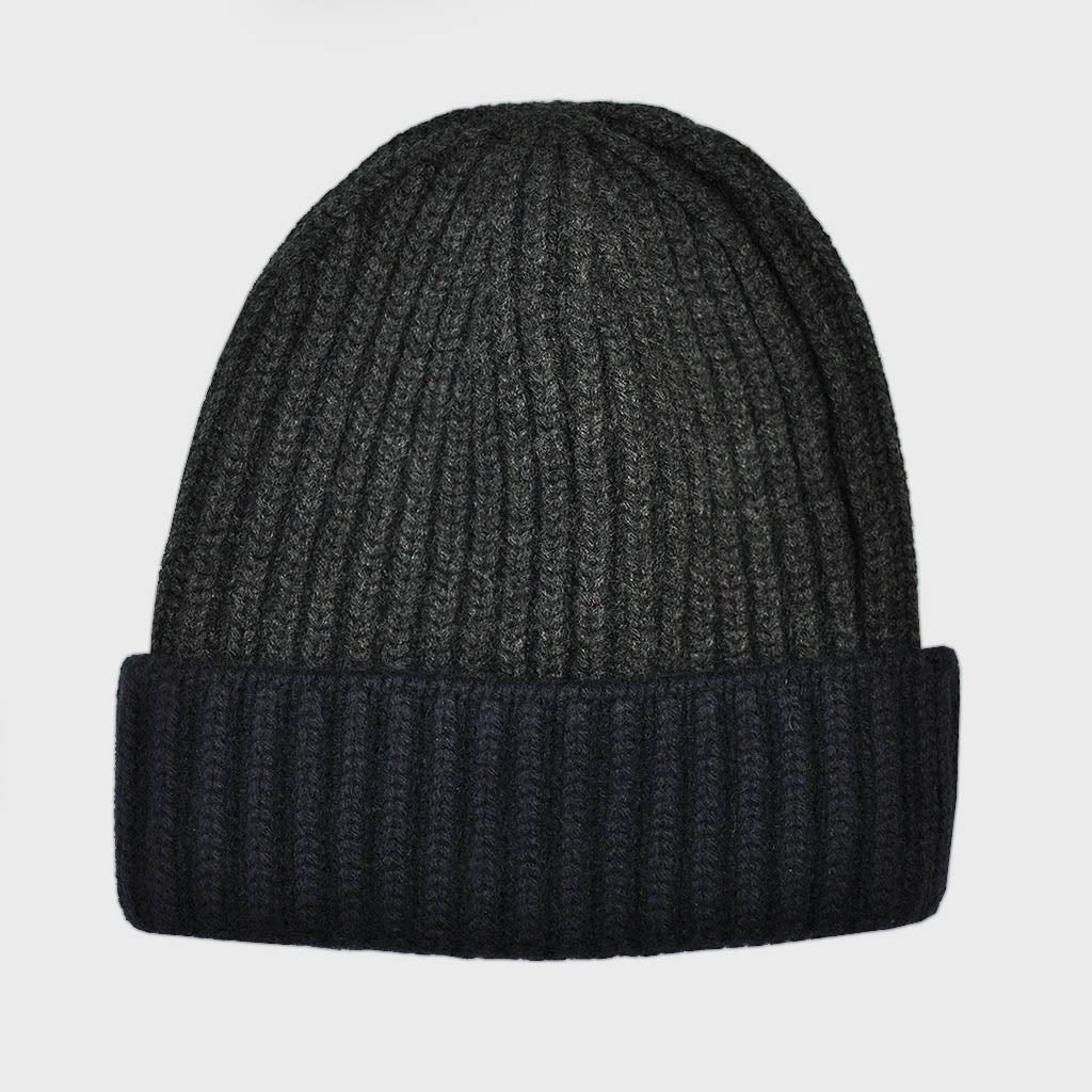 Four Ply Cashmere Winter Beanie in Charcoal & Navy