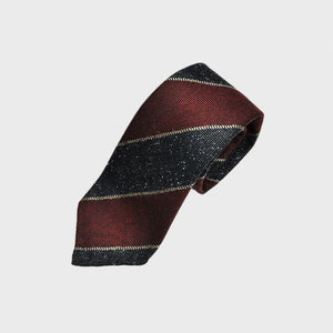 Club Stripe Hand-rolled Wool Tie in Denim, Grey & Claret