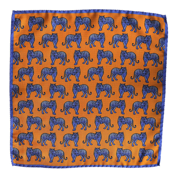 English Silk Blue Tiger Pocket Square