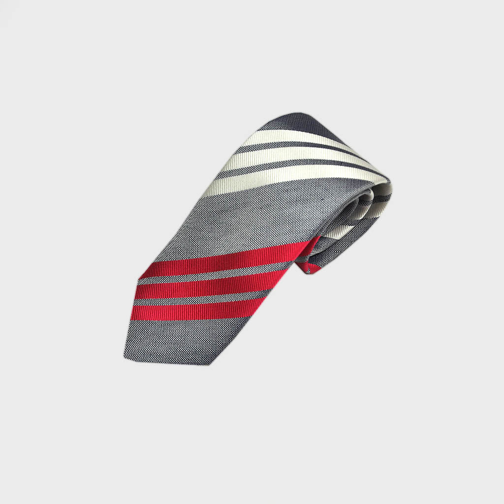 Blocks & Stripes Woven Silk Bottle Neck Tie in Grey, White & Red