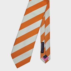 Classic Bold Stripes Bottle Neck Silk Tie in Orange & White