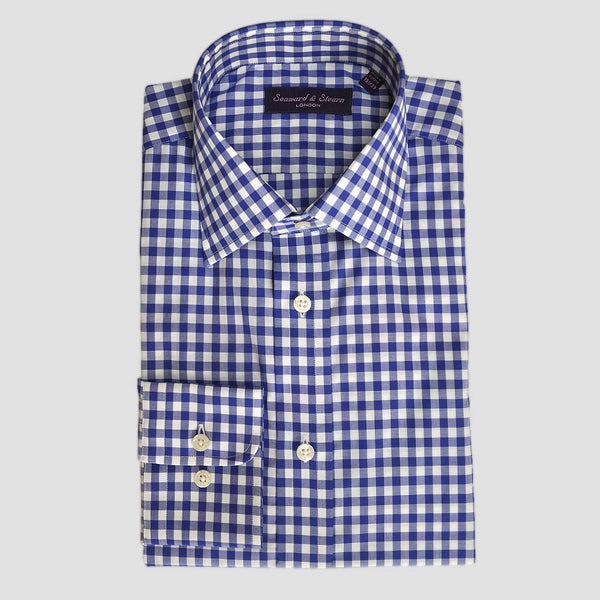 Classic Collar Blue Gingham Cotton Shirt
