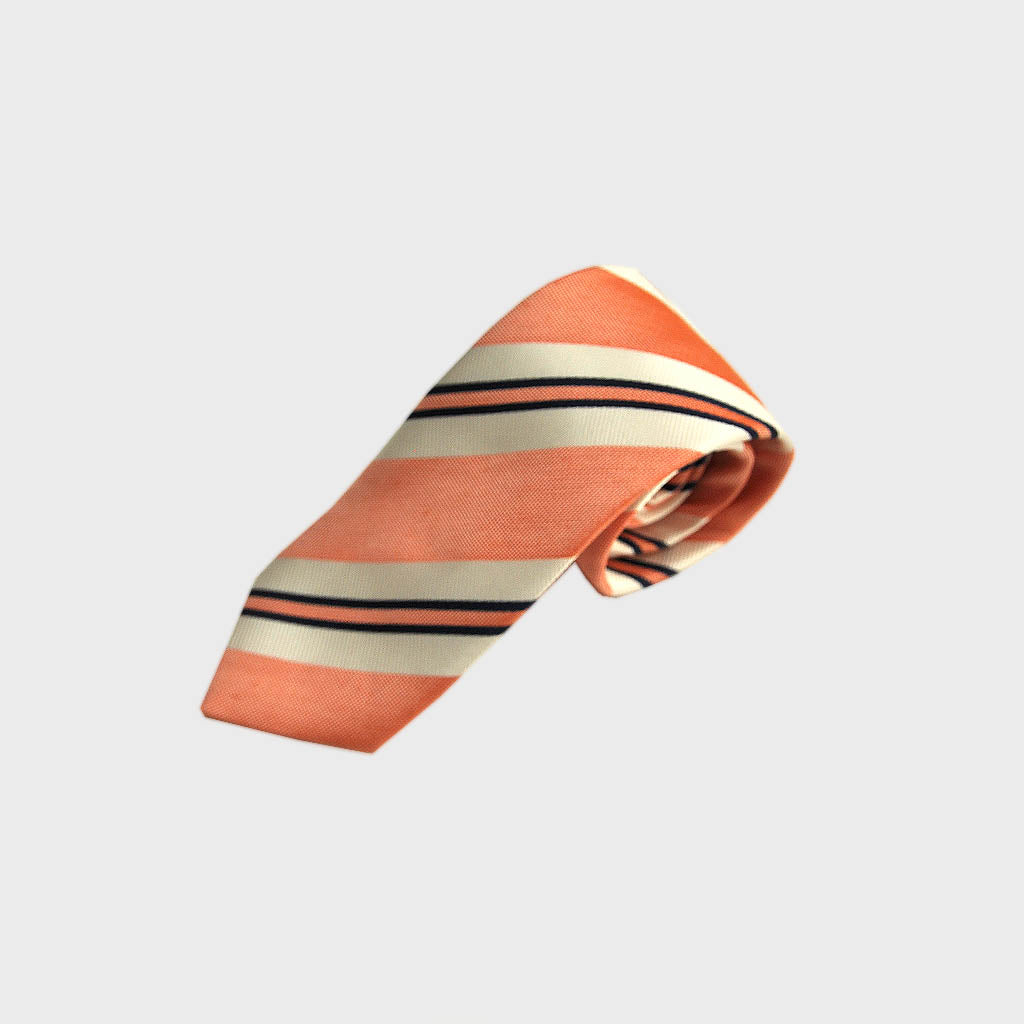 Blocks & Stripes Woven Silk Bottle Neck Tie in Pastel Red, White & Navy