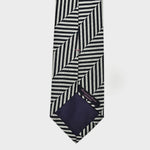 Deco Stripes Woven Silk Tie Navy & White